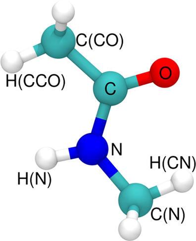 N-Methylacetamide molecule with atoms labeled.